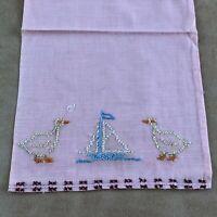 1949 Vintage Child's needlework piece embroidered linen hand towel pink ducks