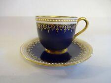 Royal Worcester c1930 Blue & Gilt Coffee Can & Saucer 'Rare'