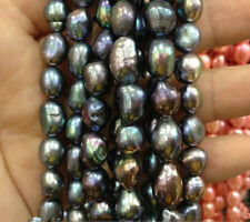 8-9MM Black Peacock gloss irregular freshwater Baroque pearl loose beads 15""