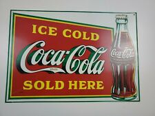 "Vintage 1989 metal Sign Drink Coca-Cola Coke 18"" x 12"""