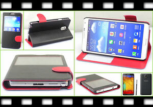 Flip Case Brief Stand Tasche Samsung Galaxy Note 3 N9000 N9005 Schutzhülle Folie
