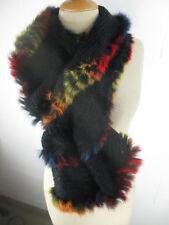 Rund Schal Grobstrick mit Echtpelz Kaninchen Schal mit Pelzdeco aus Kanin SI7226