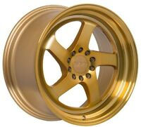 GOLD MACHINED F1R F28 18X8.5 +35 5X114.3 WHEEL FIT RSX TSX TL RX7 RX8 ILX STANCE