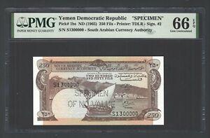 Yemen Democratic Republic  250 Fils ND(1965) P1bs Specimen UNC Grade 66 Top Pop