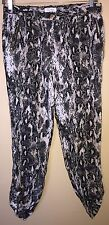 CALVIN KLEIN Women Beige Animal Print Linen Casual Pants Large Zipper Cuffed