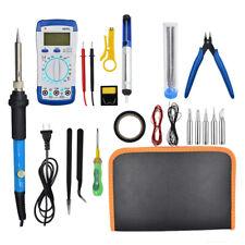 60W Electric Adjustable Temperature Soldering Iron Kit Welding Multimeter Tool