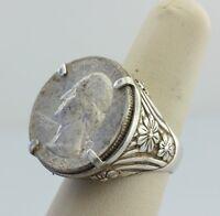 Vintage 1948 Sterling Silver Quarter Ring - Prong Bezel Sterling silver Ring - 9