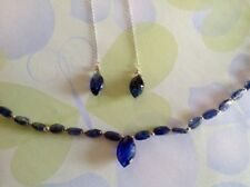 Super Pretty Blue Sapphire & White Gold Beaded Necklace & Earring Set  - NEW