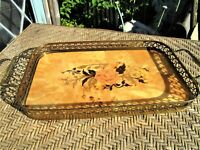 Vintage Italian Inlaid Wood Serving Tray S.N.C. Surriento Made in Italy