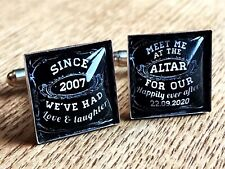 Groom Cufflinks Personalised Wedding Date Gift From Bride Black Square Cuff Link
