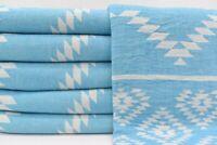 100% Cotton Aztec Throw Blanket, Turkish Peshtemal Bath and Beach Towel