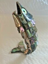 Antique Vintage Silver & mother of pearl Articulated Fish Mexican BOTTLE OPENER