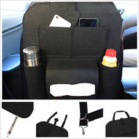 Car Seat Back Multi-Pocket Storage Bag Organizer Holder Accessory Blk Universal