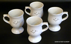 "4 pcs PFALTZGRAFF HEIRLOOM pattern ~ 4 PEDESTAL MUGS ~ 4 7/8"" NICE"