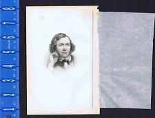Robert Browning - A Young Portrait - English Poet -1861 Steel Engraved Print
