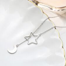 Lange Pulloverkette 75 cm Mond & Stern echt Sterling Silber 925 Y-Halskette