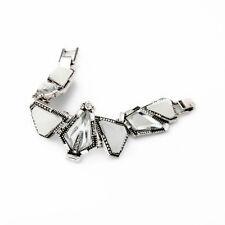 Bracelet Argenté Triangle Blanc Art Deco Géométrique Retro CT7