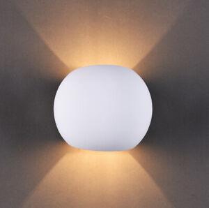 Plaster Wall Light 1xG9 Up/Down White Gypsum Paintable, Spherical Shape