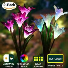 2 Pack Solar Power Lily Flower Light Garden Landscape Multi-Color LED Decor Lamp