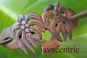 Carved COCONUT PALM wooden Hair Pin BARRETTE Clip Clasp Slide Sono Wood handmade