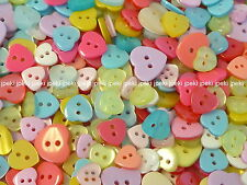 200pcs Heart Buttons Assorted Colors 9 -14mm Sewing B183