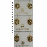 Damascene Gold Dove of Peace Design Shield Drop Earrings by Midas Toledo Spain