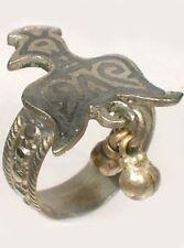 Antique 19thC Russia Ukraine Crimean Tartar Silver Eagle Enamel Niello Ring Sz9½