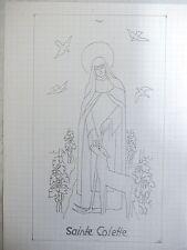 Henri BROCHET  Dessin au crayon Sainte Colette  1940,