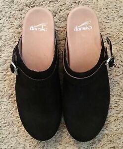 Dansko Black Nubuck Suede Slingback Buckle Clogs Mules Shoes Sz 40