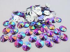 50 Sew On 10mm Round Multi-Color Crystal Acrylic Rhinestones Jewel/hole E25
