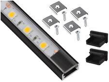 Alu Profil schwarz eloxiert 2m flach SET + Abdeckung + Endkappe - für LED Band