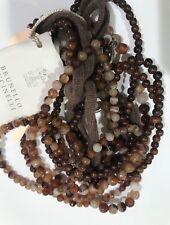 Brunello Cucinelli Brown Stones Multilayer Long Necklace Cashmere Lace $2.4k