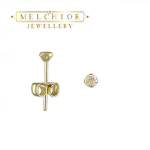 9ct Gold Tiny Small 2mm Clear White Round CZ Studs Earrings Girls Gift Box