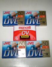 4 JVC DVC and 1 maxell MiniDV 60 Minute Mini Cassettes Lot of 5 New Sealed