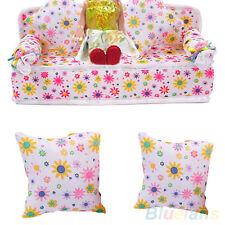 FR_ EG _ SOLDE mini meubles fleur Canapé with 2 coussins pour poupée barbie ma