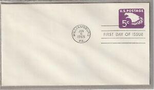 """Ersttagsbrief FDC USA """"U.S. Postage 5 Cent - Weißkopfadler"""" Ganzsache 1965"""