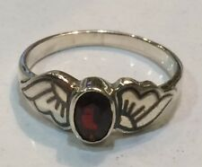 Sterling Silver Niello Garnet Wing Mount Ring Size P