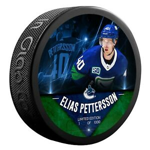 Elias Pettersson Vancouver Canucks Unsigned Fanatics Player Hockey Puck NHL