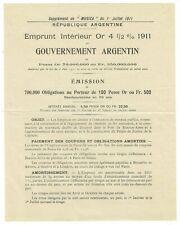 EMPRUNT ARGENTIN 1911