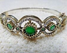 TURKISH HANDMADE 925 STERLING SILVER / SUBLIME EMERALD LADIES BRACELET BANGLE