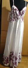 Esprit White Cotton Maxi Dress with Magenta Floral Embroidery - NWT Size 16