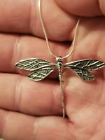 """925 Sterling Silver Dragonfly Pendant Includes 20"""" Italian Snake Chain"""