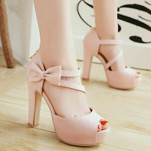 Women's Solid Color Platform Platform Flat Open Toe Bow Party High Heel Sandals