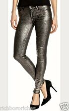 NWT Paige Pewter Metallic Crackle Black Stretch Verdugo Ankle Skinny Jeans 25