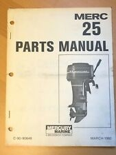 1980 Merc Mercury 25HP Marine Outboard Engine Parts Manual List Catalog
