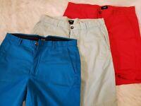 "LOT/3 Pairs Mens H&M 34R Shorts Blue Lt Blue Red 19"" Length"