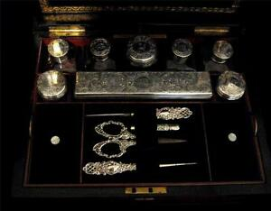Dressing Box in Walnut - HM Silver Topped items by Fisher and George Brace 1861