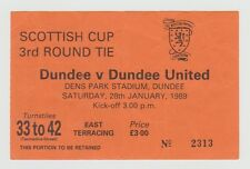 DUNDEE V DUNDEE UNITED SCOTTISH CUP 3RD ROUND 28TH JAN 1989 ORIGINAL TICKET STUB