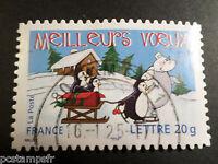 FRANCE 2005, timbre 67-3853, MANCHOTS, OURS, VOEUX, oblitéré, PENGUIN, VF stamp