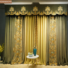 luxury green velvet embroidered thick cloth blackout curtain valance tulle C406